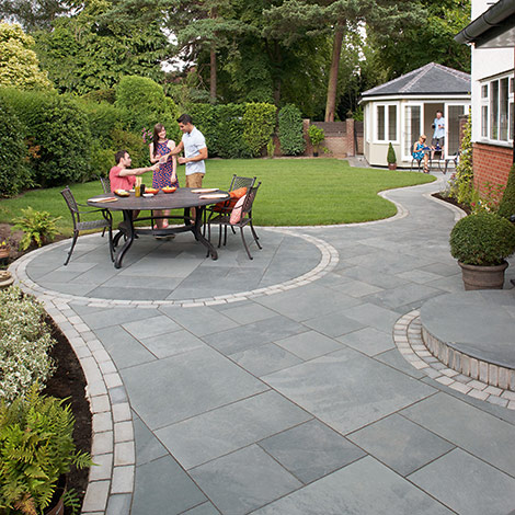 Image example of new paved patio  with landscaping