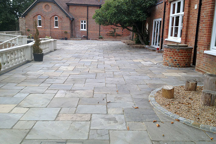 Photo of extensive paved patio completed by Langshott